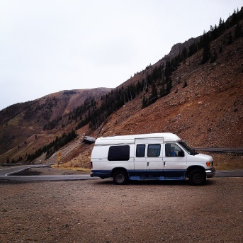 Lady Van climbing up the Bear Tooth Pass outside of Red Lodge, Montana in September of 2014.