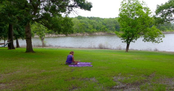 Here I am doing my birthday tarot reading at Lake Oologah in Oklahoma.